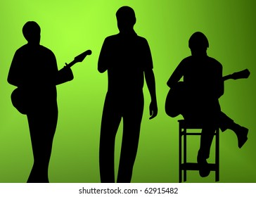 musician (player, singer) silhouette (shape) on white background