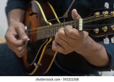 musician playing a mandolin.