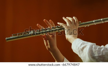 Musician plays the flute