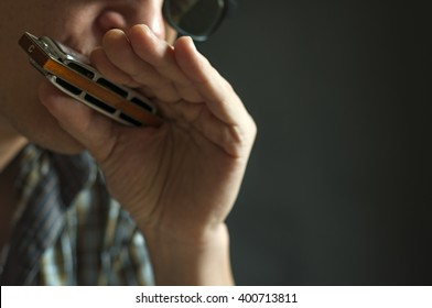 Musician plays the harmonica