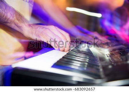 Musician Plays Keyboards Rock Band Stock Photo (Edit Now