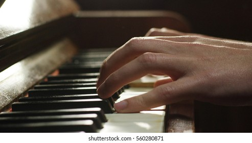A musician plays the piano and reading the note in front of he. The musician or composer touches the piano keys with his long fingers. Concept: sound, music, academy, concert, pianist