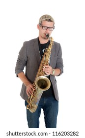 the musician plays a saxophone, isolated on white
