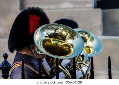 A musician of Royal Band performing his instrument during a parade in the commemoration of Veteran's day
