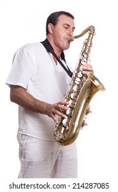 musician with saxophone isolated in white background