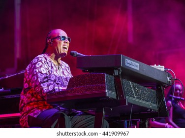 Musician Stevie Wonder performs onstage during day 1 of the 2015 Life Is Beautiful Festival on September 25, 2015 in Las Vegas, Nevada.