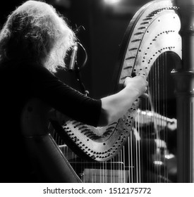 The musician tweaks the harp. Harp player. Classical musician harpist playing harp. Female musician playing the harp.