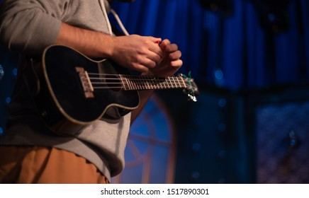 musician with ukulele performs at a concert