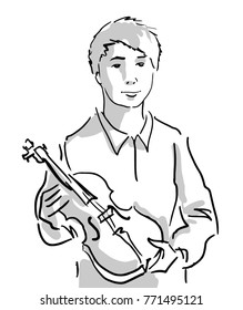 Musician. Violinist. A young man holds a violin in his hands. Musical instrument. Black and white sketch. Simple drawing.