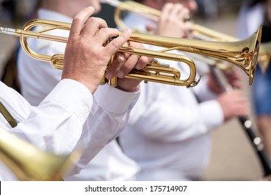 Musicians at the festival of military brass bands
