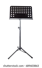 Musician's lectern, black metal, isolated on white background