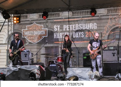 Musicians on stage. St. Petersburg, Russia - 5 August, 2017. Music at the Harley-Davidson Festival in St. Petersburg.