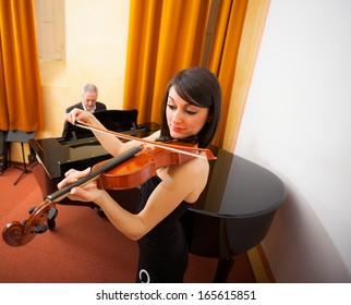 Musicians playing chamber music