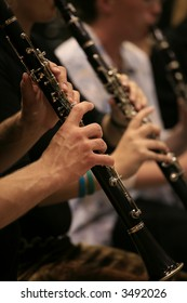 Musicians playing clarinet in a band