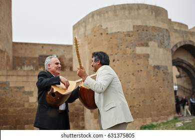 Musicians Playing  Saz or Baglama-Traditional Anatolian Music Instruments ,Kars-Turkey 14-10-2009