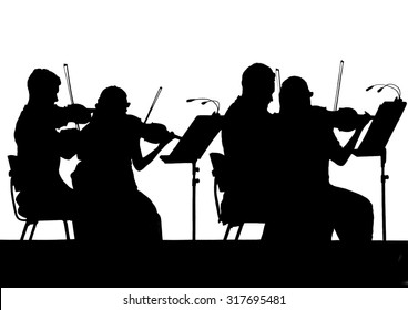 The musicians of the Symphony orchestra in the form of silhouettes on a white background