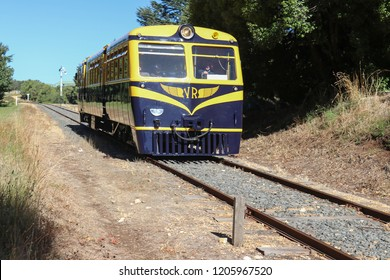 MUSK, AUSTRALIA - March 31, 2018: The Daylesford Spa Country Railway, a tourist railway, operates its Walker Railmotor near the Musk station