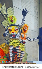 The musket of tiger showing the culture of Kerala, Pulikali is a festival in which people wearing tiger masks and painted tiger face on their body