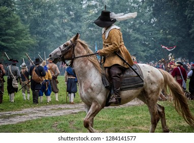 Musketeer On A White Horse, 09.09.2018, Warsaw, Poland.
