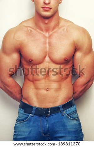 Musled Guy Jeans No Shirt On Stock Photo Edit Now 189811370