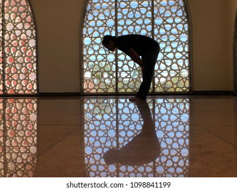 As a muslim, all his followers are obliged to prayer to god five times within 24 hours a day. In this picture, an islamic man is praying at mosque in Sabah,Malaysia.