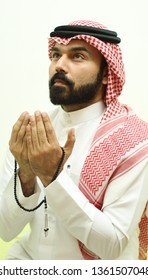 A Muslim Arab Man Praying In The Holy Moth Of Ramadan And Looking To The Sky  ( Ramadan Muslim Pray )