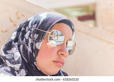 Muslim Arabic girl during touristic travel