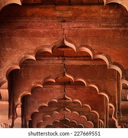 Muslim architecture detail of Diwan-i-Am, or Hall of Audience, inside the Red Fort in Delhi, India.