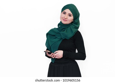 Muslim asian woman working in office. business theme