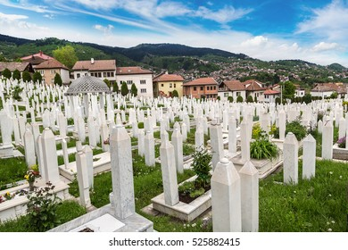 A muslim cemetery in a beautiful summer day in Sarajevo, Bosnia and Herzegovina