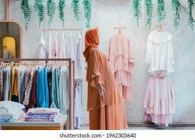 Muslim clothing store or hijab modern store or boutique, which sells various muslim clothes like Eid clothes for men, kids, or woman.