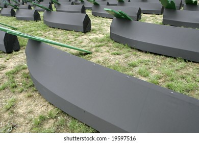 Muslim coffins prepared for collective funeral. Bodies exhumated from mass grave, Bosnia.