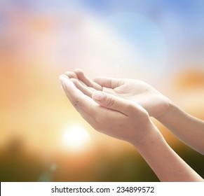 Muslim dua and catholic prayer concept.