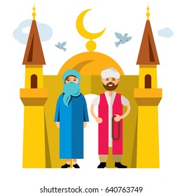 Muslim family and Islam. Flat style colorful Cartoon illustration.