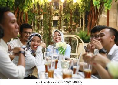 muslim family ramadan gathering iftar at home. yogyakarta indonesia. may 11, 2019.