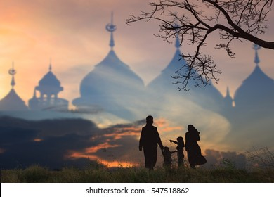 Muslim Family silhouettes supplications, International Day of Families,background blur mosque, Concept of Islam is the religion, children hijab and parents lifestyle ,Ramadan festival concept