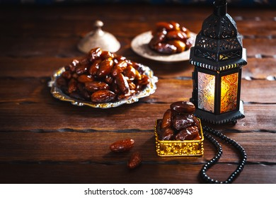 The Muslim feast of the holy month of Ramadan Kareem. Beautiful background with a shining lantern Fanus.
