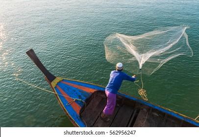 Muslim Fisherman Fishing Nets,Andaman Sea off the coast, Ranong Southern Thailand