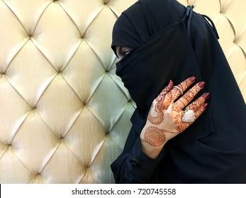Bride Beautiful Muslim Bride Hands Henna Stock Photo Edit Now