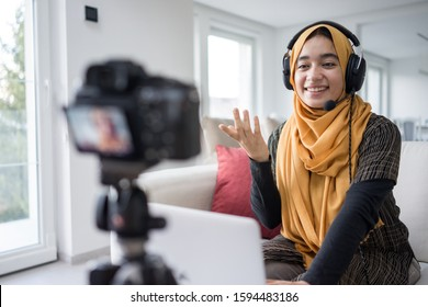 Muslim girl having video content streaming