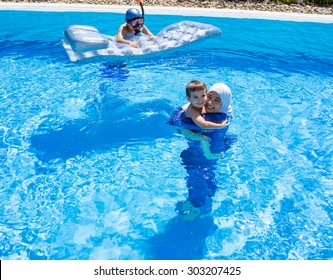 Muslim girl with special swimming suit