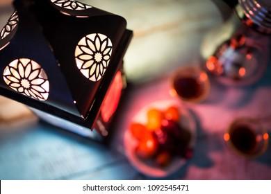 Muslim holy month Ramadan Kareem,burning candle
