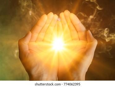 Muslim human hands praying