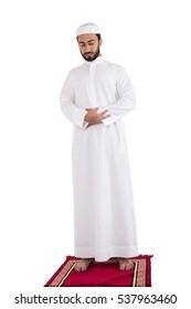 muslim man praying on white background