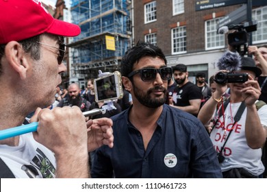 A muslim man shouts abuse at counter protesters during the Al Quds Day rally, London, 10/06/18.