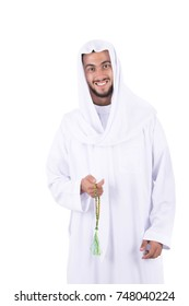 Muslim man is using Misbaha. isolated on white background.