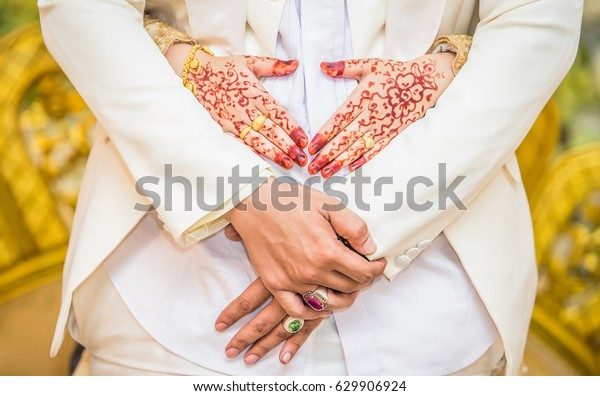 Muslim Marriage Weddings Traditionswoman Portrait Hands Stock Photo
