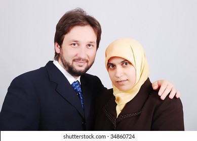 Muslim modern couple, wife and husband