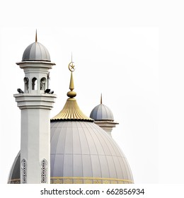Muslim mosque ( dome )in white background , ideal use as background