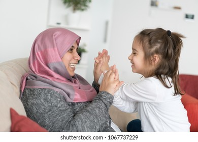 Muslim Mother and Son Having Fun